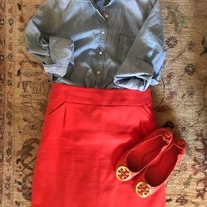 J Crew orange pencil skirt